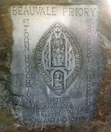 The memorial stone placed by the diocese
